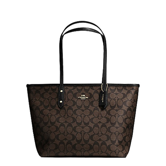 Coach Handbags - COACH SIGNATURE CITY ZIP TOTE